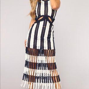 Beautiful Medellin Crochet Dress - Navy/White